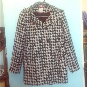 Tommy Girl sharkstooth hooded pea coat L